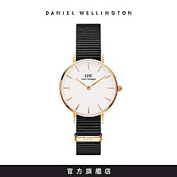 DW 手錶 官方旗艦店 28mm玫瑰金框 Classic Petite 寂靜黑織紋錶