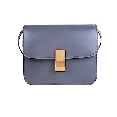 CELINE 新款TEEN CLASSIC BOX天然小牛皮金釦肩背/斜背包 (灰色)