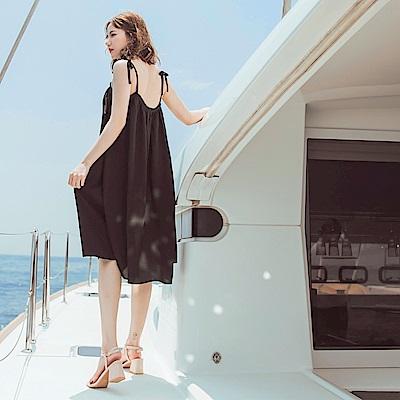 流蘇領口肩綁帶純色飄逸洋裝-OB大尺碼