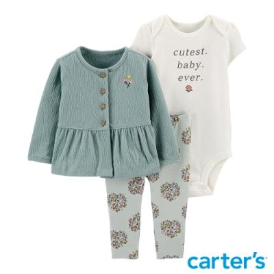 【Carter s】綻放花朵3件組套裝(6M-12M) (長袖上衣/長褲)(台灣總代理)