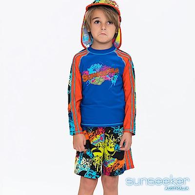 澳洲Sunseeker泳裝抗UV防曬長袖泳衣+泳褲+防曬泳帽-小男童/塗鴉藍