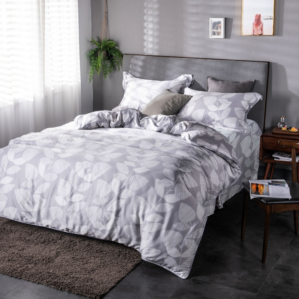 夢工場玉雪非花40支紗萊賽爾天絲四件式床罩兩用被-雙人