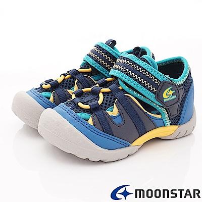 日本月星頂級童鞋 運動護趾涼鞋 ON435深藍(中小童段)