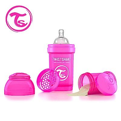 Twistshake 瑞典時尚 彩虹奶瓶/防脹氣奶瓶180ml/奶嘴口徑0.3mm-甜心粉