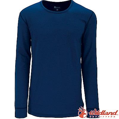 Wildland 荒野 W2656-46土耳其藍 男遠紅外線保暖U領衛生衣