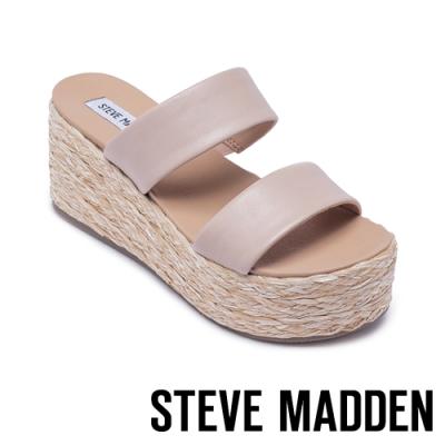 STEVE MADDEN-JOLTED 側邊鬆緊雙粗帶楔型拖鞋-珊瑚粉