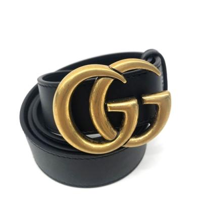 GUCCI 復古GG金屬釦環LOGO滑面皮帶 (金色/3CM)