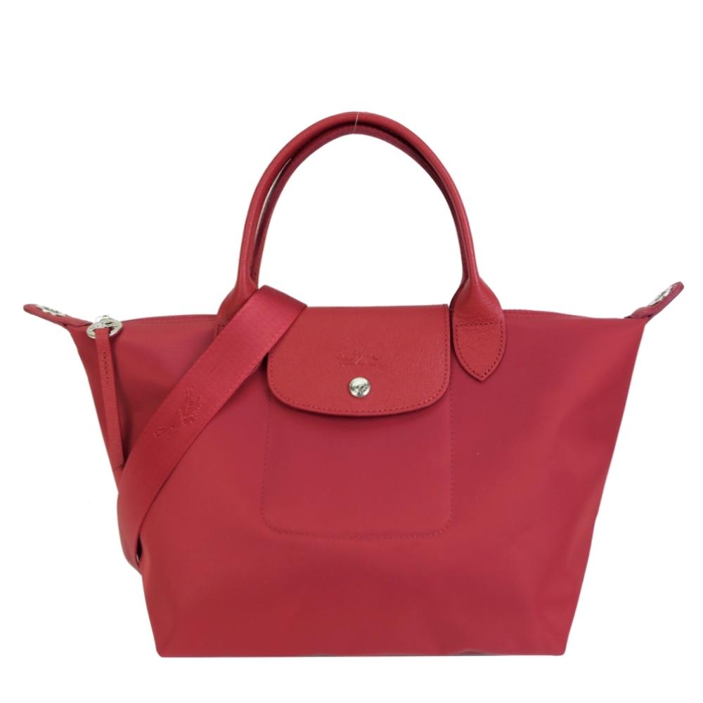 LONGCHAMP LE PLIAGE NÉO系列新款厚尼龍奔馬織紋寬背帶短把兩用包(小/紅)