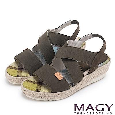 MAGY 夏日時尚舒適 鬆緊帶牛皮編楔型涼鞋-綠色