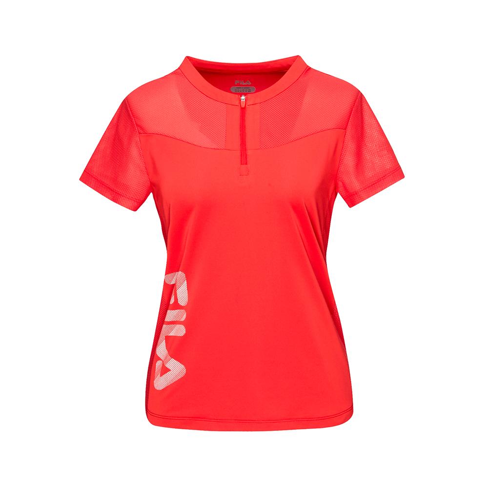 FILA 女款抗UV吸濕排汗T恤-桔紅 5TET-1319-OR