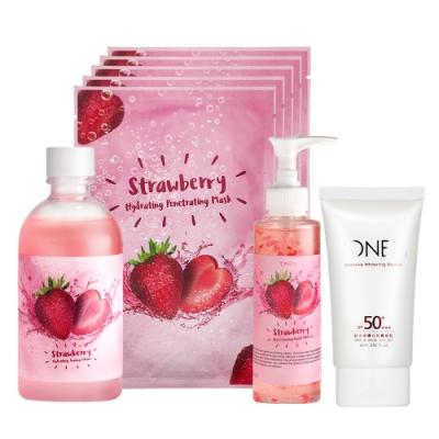 【歐恩伊】美莓防護四件組-草莓保濕化妝水+草莓潔面膠+草莓面膜+(即期品)超光感防曬凝乳
