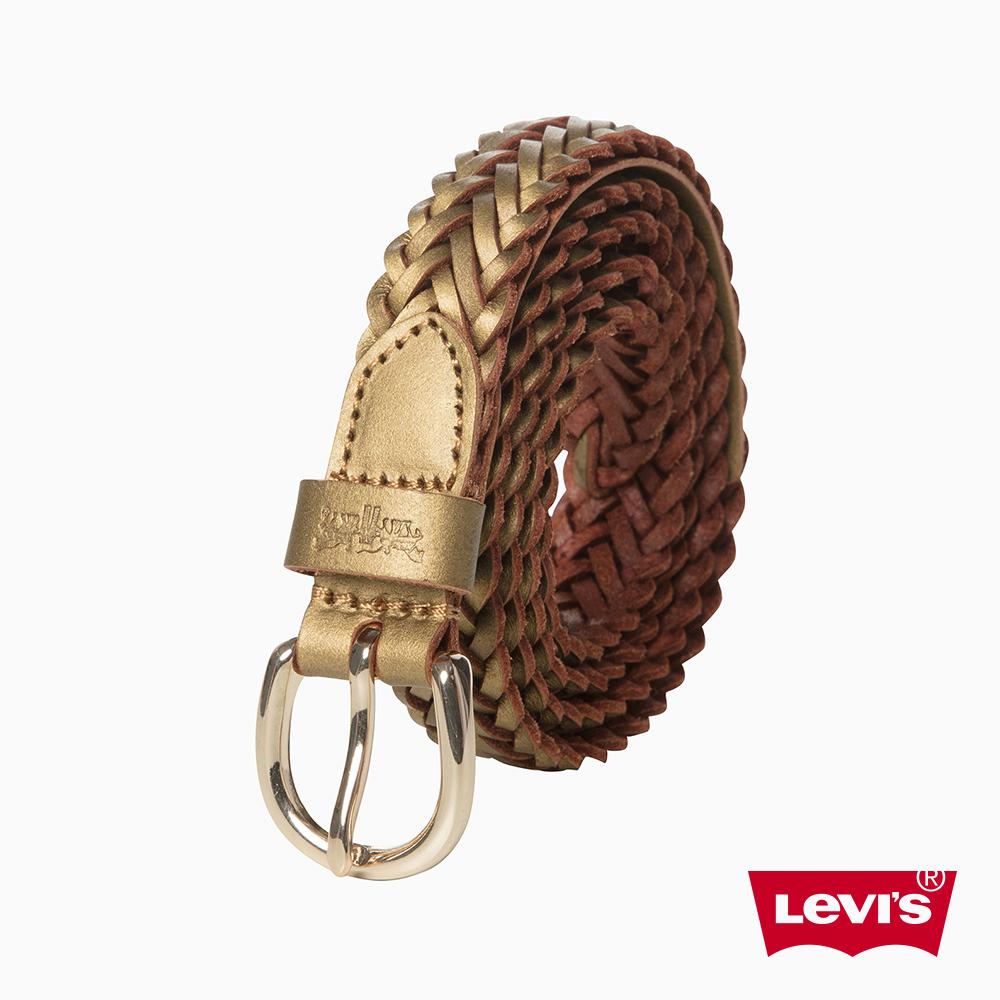 Levis 女款 編織皮帶 亮眼金