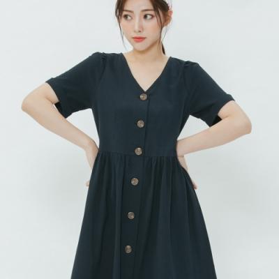 H:CONNECT 韓國品牌 女裝-小V領排扣長洋裝-藍