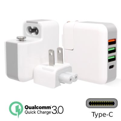 QC3.0+Type-C 4孔快充輸出USB充電器