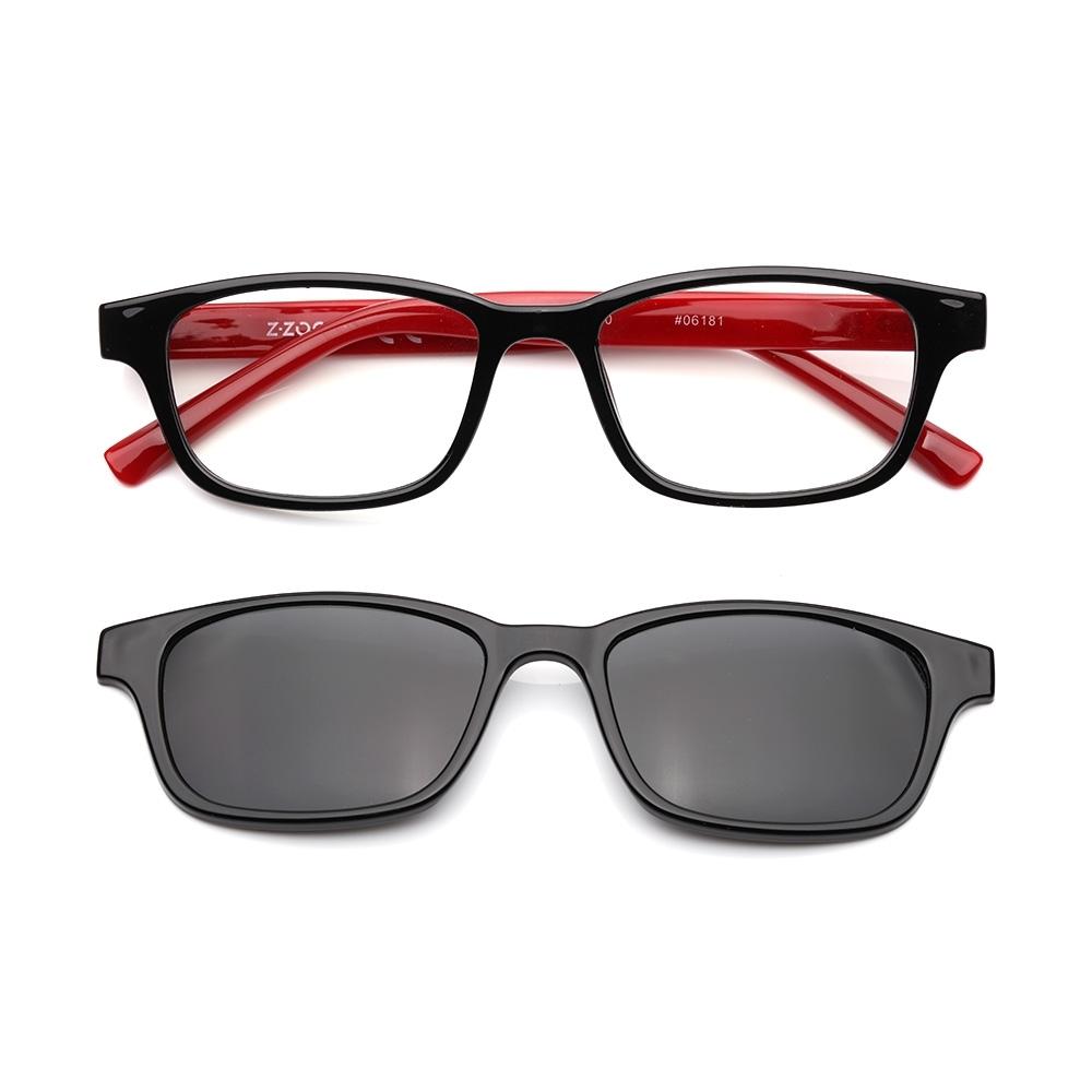 【 Z·ZOOM 】老花眼鏡 磁吸太陽眼鏡系列 時尚矩形粗框款(黑框紅身)
