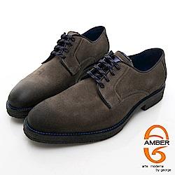 【AMBER】 休閒時尚 葡萄牙進口綁帶粗曠真皮紳士皮鞋-棕色