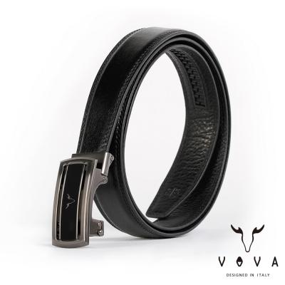 VOVA - 商務紳士簡約造型自動扣皮帶 - 鎢鋼色