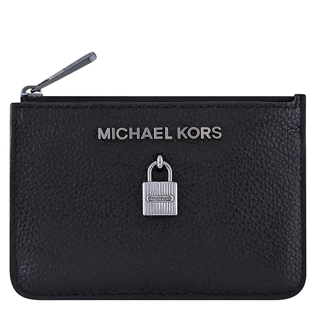 MICHAEL KORS Adele 牛皮鎖頭鑰匙零錢包(黑色)