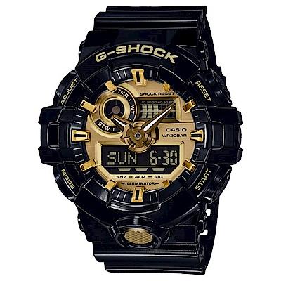 G-SHOCK 絕對強悍金屬3D雙顯運動錶(GA-710GB-1A)-黑金/53.4mm