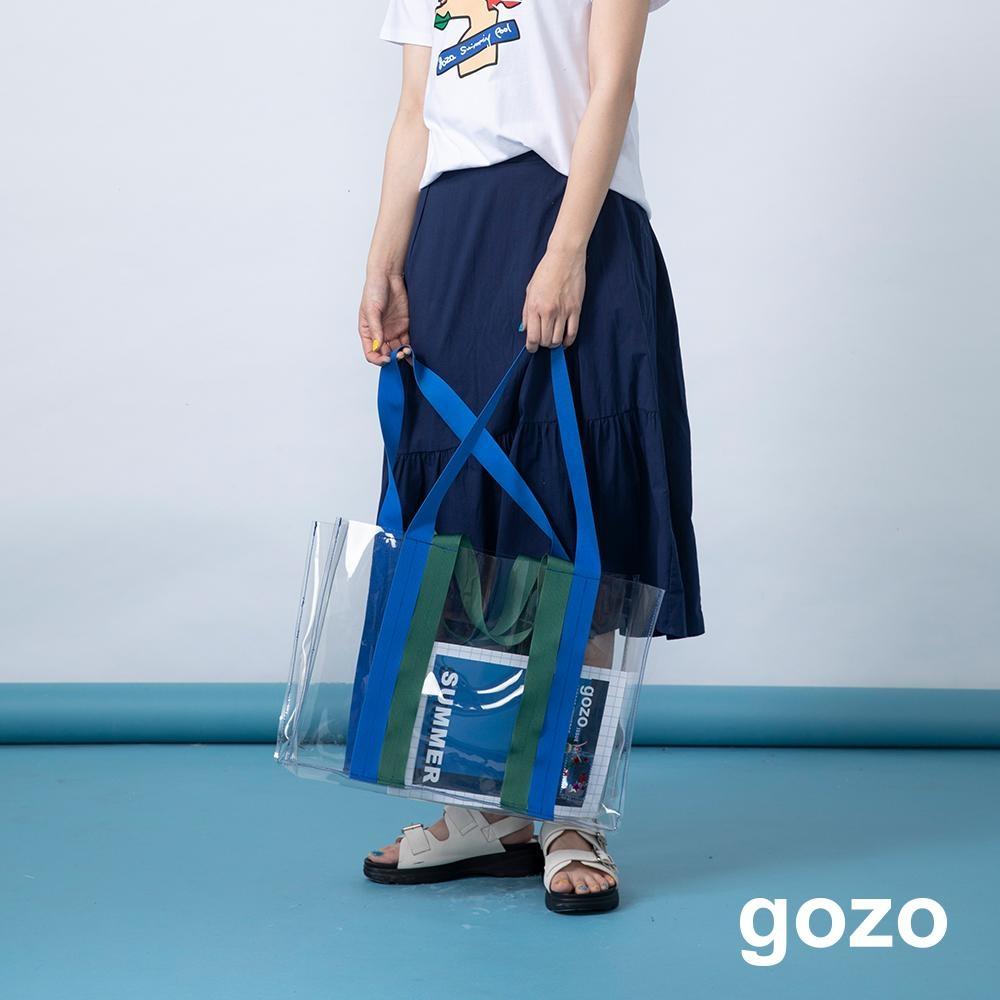gozo 造型下擺拼接抓摺膝下裙(二色)