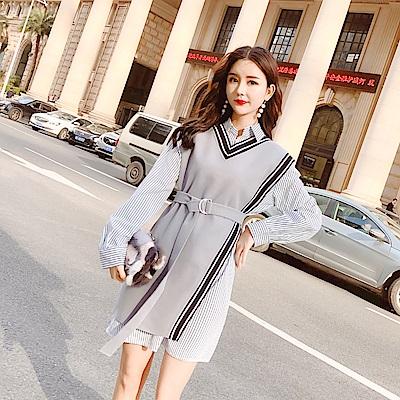 DABI 韓系針織背心加長袖襯衫氣質套裝長袖裙裝