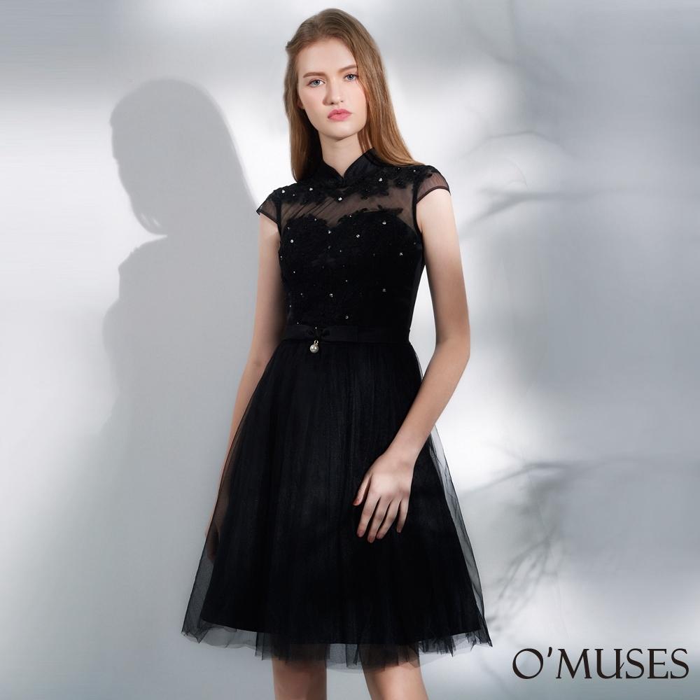 OMUSES 重工蕾絲刺繡網紗旗袍短禮服