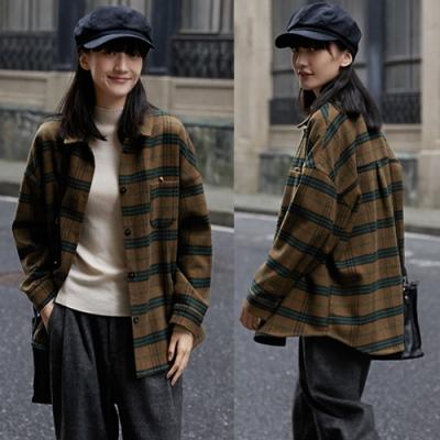 細膩軟糯復古格子羊毛呢子寬鬆襯衫外套短版-設計所在