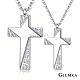 GIUMKA情侶對鍊 簡約十字架白鋼情人項鍊 銀色男鍊+銀色女鍊 一對價格 product thumbnail 1