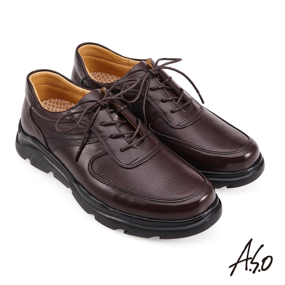 A.S.O 活氧增高綁帶商務氣墊鞋-咖啡