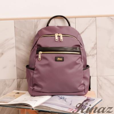 KINAZ casual 多隔層防潑水真皮拼接手提後背包-迷霧粉紫-輕甜漫遊系列