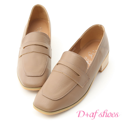 D+AF 好感風格.復古方頭經典款樂福鞋*灰