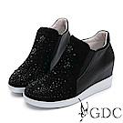 GDC-真皮高筒玫瑰水鑽內增高休閒鞋-黑色
