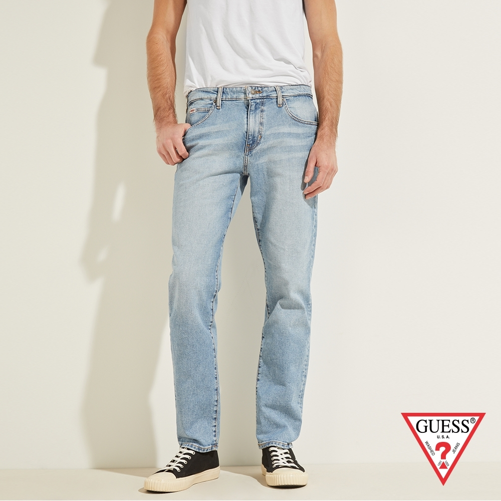 GUESS-男裝-ORIGINALS系列水洗修身直筒牛仔褲-淺藍 原價3990