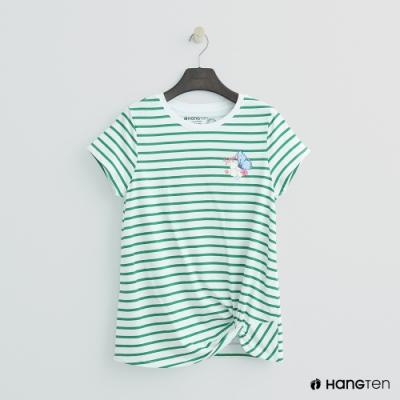 Hang Ten-女裝-扭結下擺條紋T恤-綠