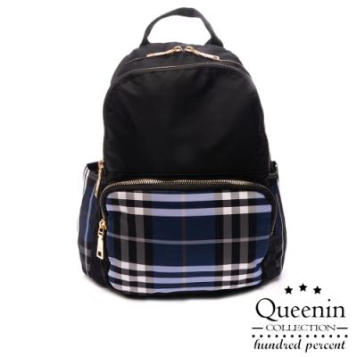 DF Queenin日韓 - 英倫學院風經典格紋撞色手提後背包-共2色