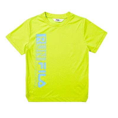 FILA KIDS 童抗UV吸濕排汗上衣-黃綠1TET-4305-LM