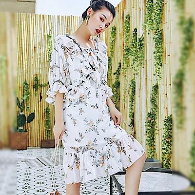 夢幻蘿莉塔荷葉雪紡花洋裝-(共二色)Andstyle