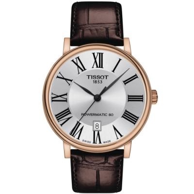 TISSOT天梭 CARSON 經典機械手錶(T1224073603300)-40mm