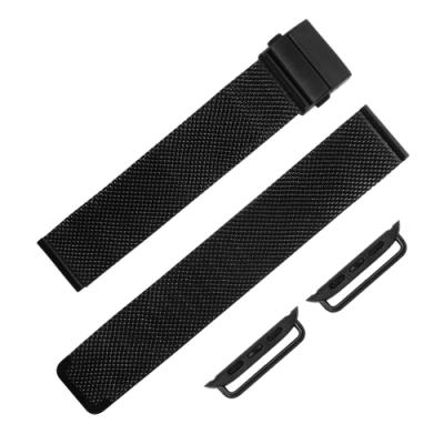 Apple Watch 蘋果手錶替用錶帶 米蘭編織不鏽鋼錶帶-黑色
