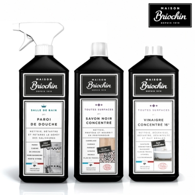 Maison Briochin 黑牌碧歐馨 完美純淨浴廁組-浴室專用清潔液+多效清潔醋+濃縮黑皂液