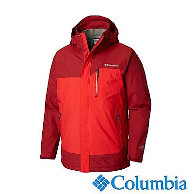 Columbia哥倫比亞 男款-Omni-Tech防水保暖兩件式羽絨外套-紅色