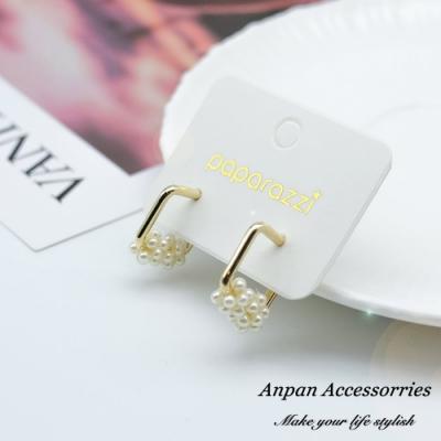 【ANPAN愛扮】韓東大門INS金屬幾何方形珍珠925銀耳針式耳環
