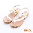 ZUCCA-金屬面夾腳扣環涼鞋-白-z6327we