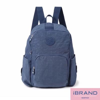 iBrand後背包 輕盈防潑水防盜尼龍後背包-藍色