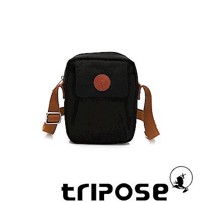 tripose PAN微皺尼龍直式斜背包-潮感黑