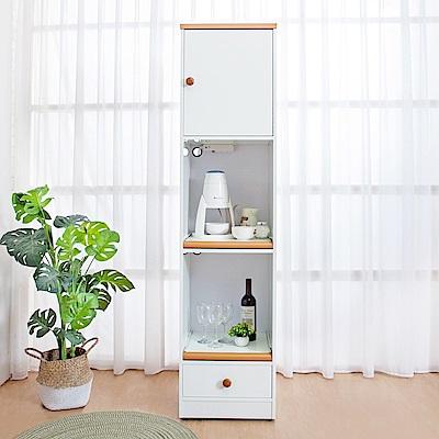 Birdie南亞塑鋼-1.5尺一門一抽二拉盤塑鋼電器櫃(白+原木)44x41x180cm