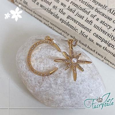 iSFairytale伊飾童話 高雅星月 韓風不對襯珍珠925銀針耳環