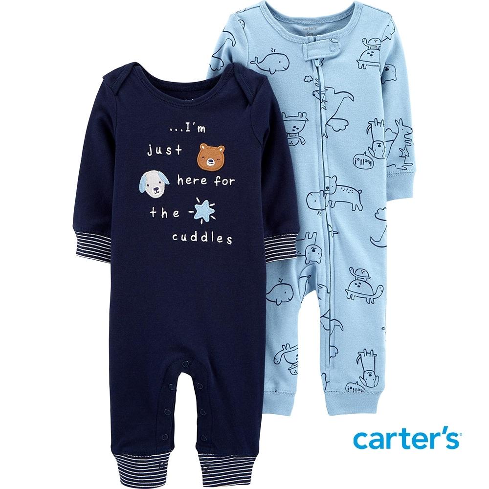 【Carter's】可愛動物2件組長袖連身裝( 早產兒Pre-9M)(台灣總代理)
