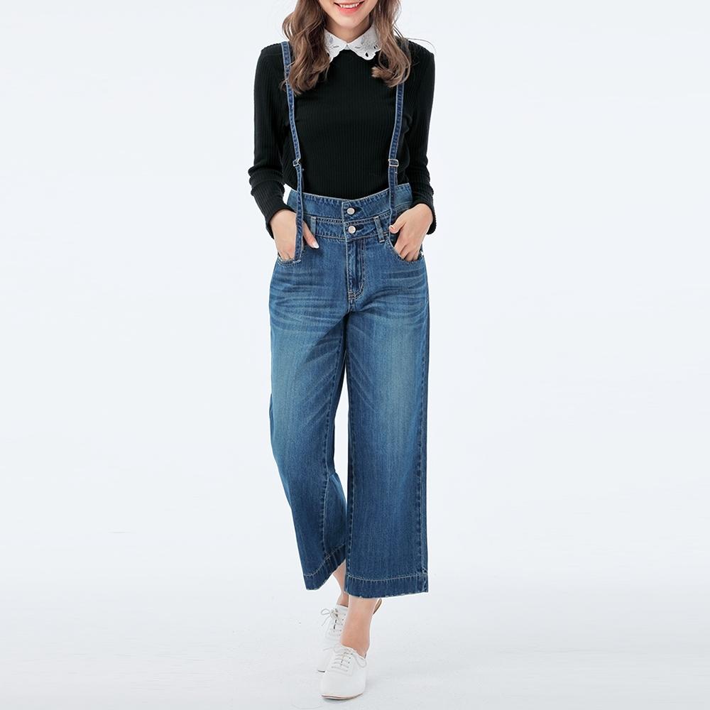 Victoria 純棉雙層腰可拆吊帶寬褲-女-中藍