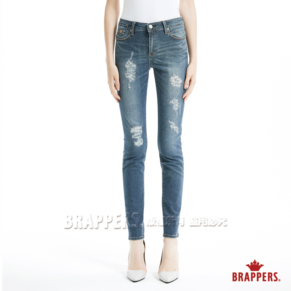 BRAPPERS 女款 新美腳Royal系列-中腰彈性不規則割破窄管褲-深藍